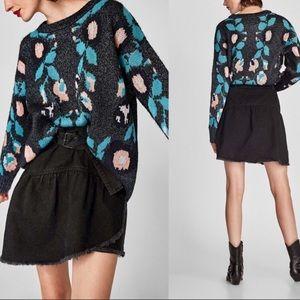 Zara Faux Wrap Distressed Jean Denim Mini Skirt